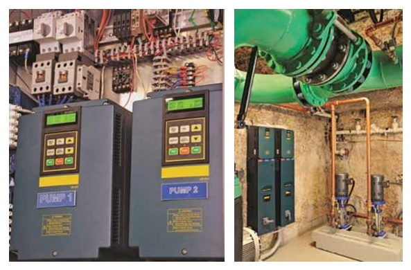 Ten-horsepower variable speed motors, controlled by variable frequency drives (VFDs), Villa Magna condos, Florida