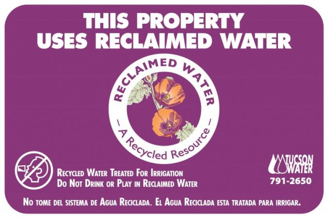 A Reclaimed Water Sign from Tucson, Arizona
