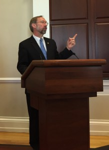 Stan Meiburg, Acting Deputy Administrator of EPA, speaks at the one year celebration of the Water Infrastructure and Resilience Finance Center.