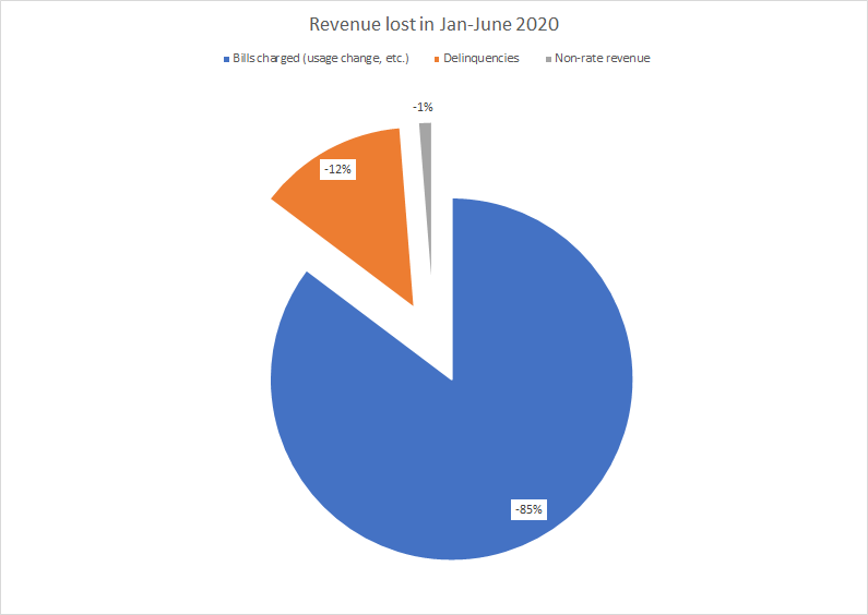 This graph shows revenue lost from January-June 2020. 85% from bills charged, 12% from delinquencies, and 1% from non-rate revenue.